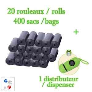 20 rouleaux 400 sacs ramasse crottes + 1 distributeur
