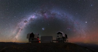 "Our home -- the beautiful Milky Way galaxy -- above the twin 6.5m Magellan Telescopes. (There is another pair of ""Magellans"" in this picture; see if you can spot them.) Image credit: Yuri Beletsky (http://www.eso.org/public/images/?search=beletsky)."