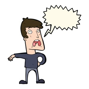 cartoon complaining man with speech bubble