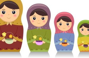 Illustration Featuring Matryoshka Dolls Carrying Baskets of Flow