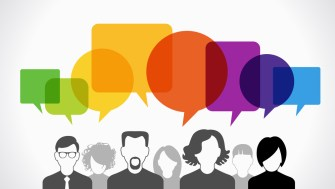 Icons of people with speech bubbles. Vector illustration of a c
