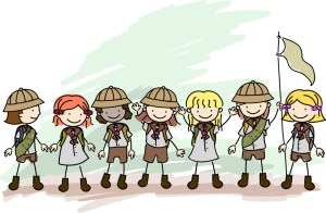Illustration of Girl Scouts in a Line