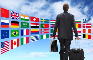 International business man travel with trolley global business c