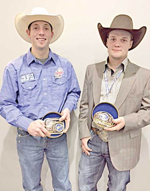Scott Sigfusson, left, and Logan Kadlec display the buckles they received at the Canadian Cowboys Association finals rodeo in November.