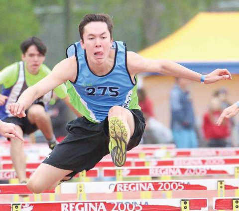 Loreburn's Shane Lafontaine competes in the senior boys 100-m hurdles at the provincial track meet in Regina.