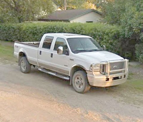 Pictured is the white Ford F-350 truck belonging to John Sperling, reported stolen from Davidson on Tuesday morning.