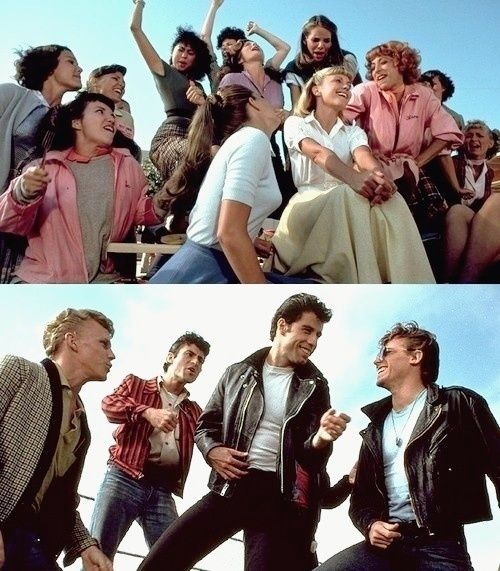 The cast of the movie Grease from the Summer Loving scene.