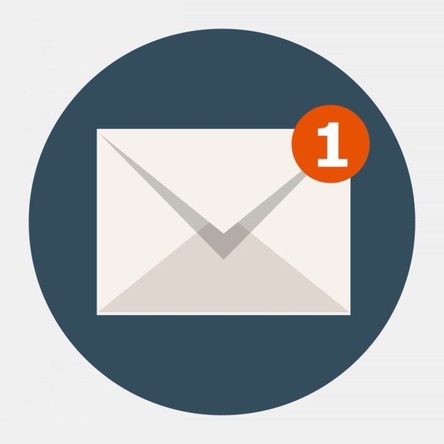 Email notification icon with a 1 in the corner