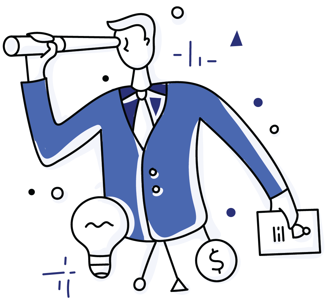 A cartoon man holds up a spyglass to better see his leadership goals.