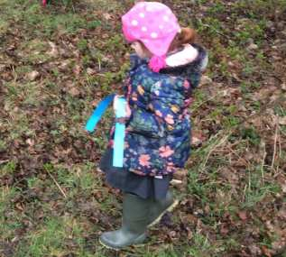 collecting leaves