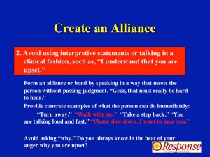 Use short phrases that create an alliance during a crisis intervention