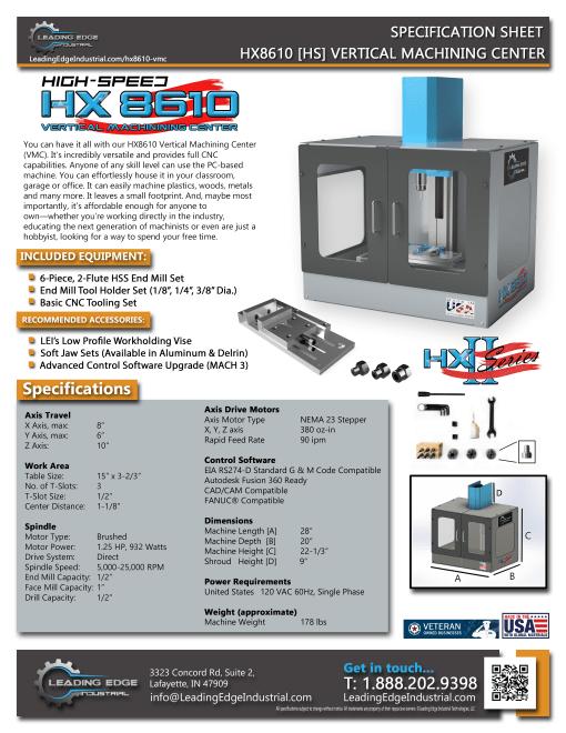 HX8610 Vertical Machining Center - High-Speed [HS] Model Datasheet