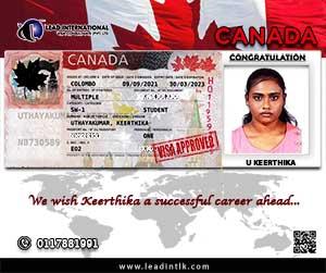 Canada Succesful Student Visa Keerthika