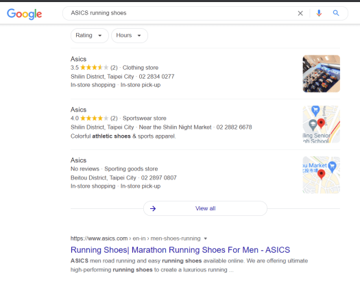 Example of Google My Business