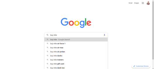google autocomplete feature example