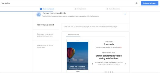 test your page speed and identify the failures to speed up your website