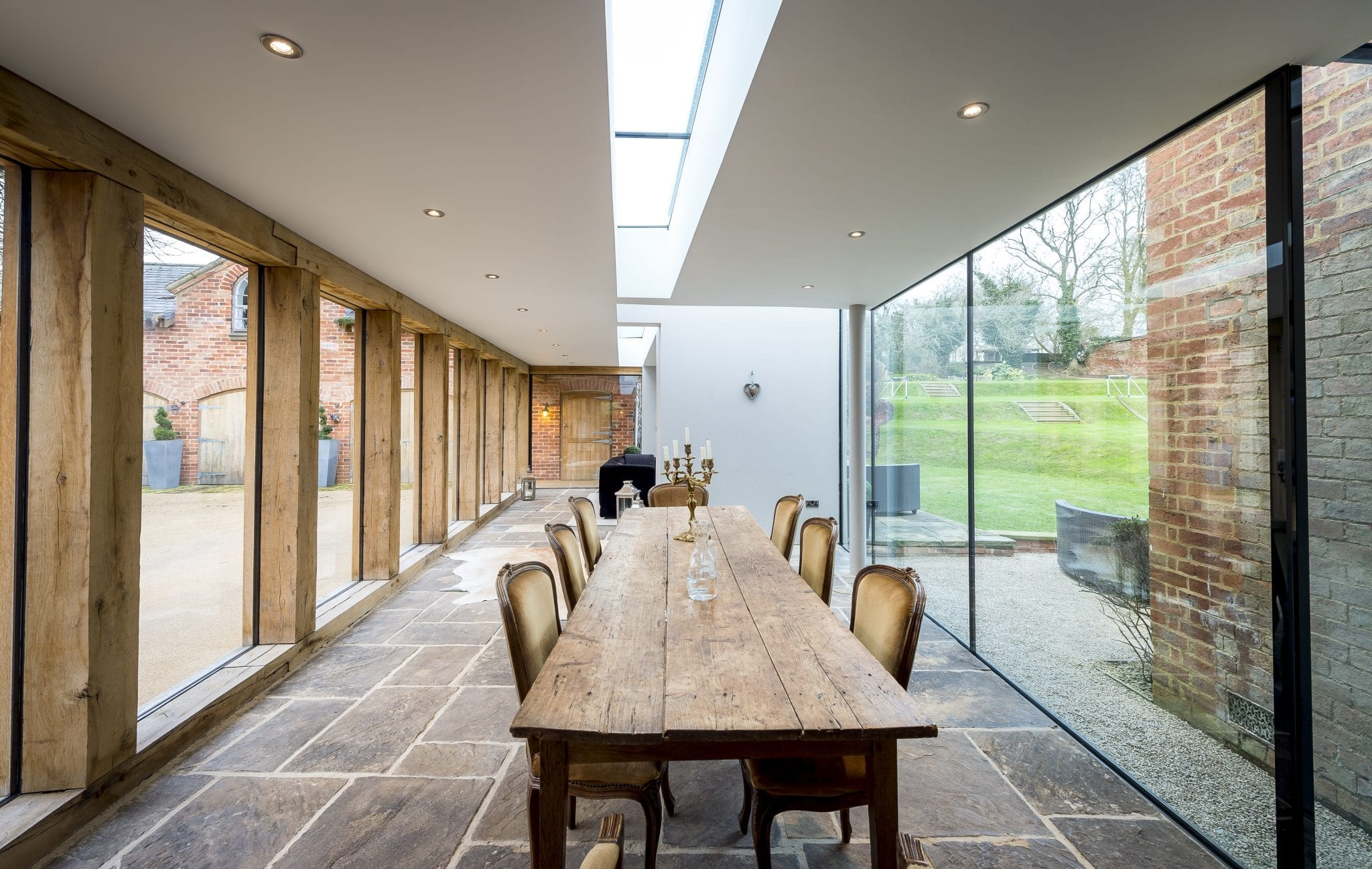 Contemporary Oak Amp Glass Extension To Listed House Leaf