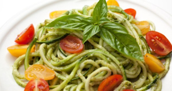 Date Night Dinner Ideas Zucchini Noodles Roasted Vegetables Pesto
