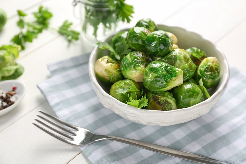 Brussels Sprouts served in a bowl.