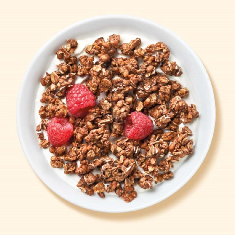 chocolate and hazelnut flavored granola
