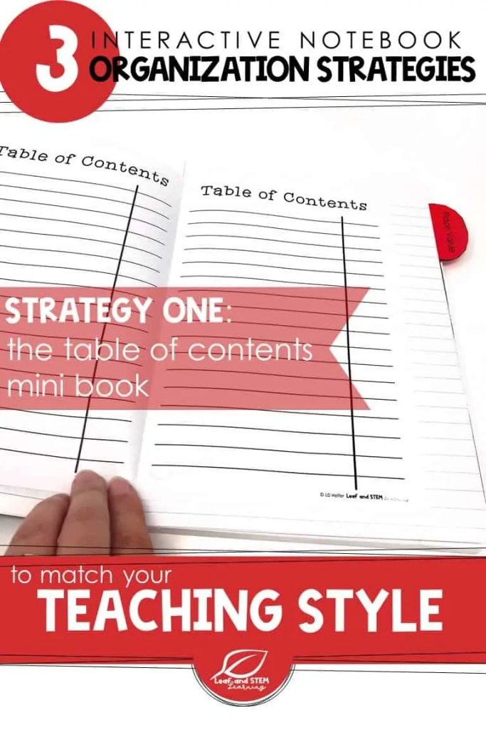 Learn about 3 strategies for interactive notebook organization that you can match to your teaching style! | 4th, 5th, and Middle School Math Interactive Notebook FREE ideas for creating a table of contents