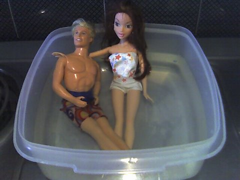 Pool party with dolls