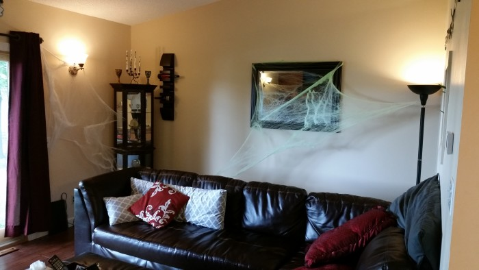 Halloween decor spiderwebs