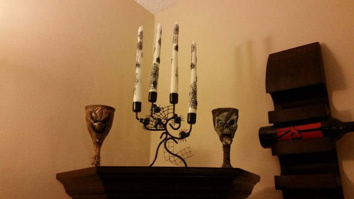 halloween decorations goblets candle sticks wine