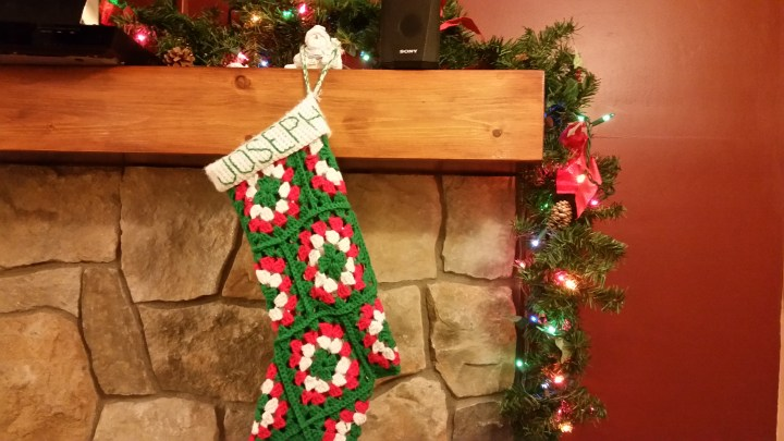 Christmas stocking crochet Joseph mantle fireplace lights