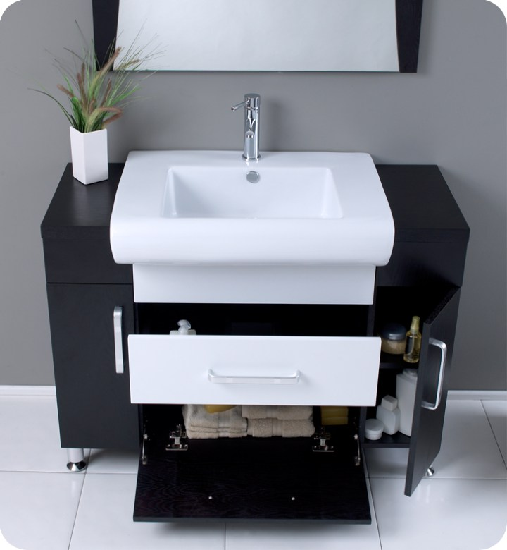 Modern bathroom vanity white sink stainless steel