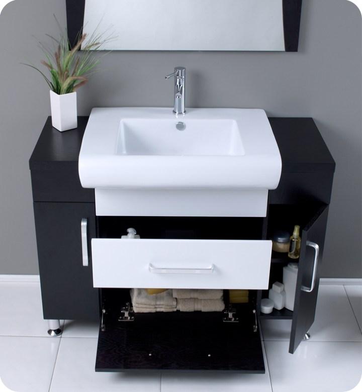 Modern bathroom vanity white sink stainless steel