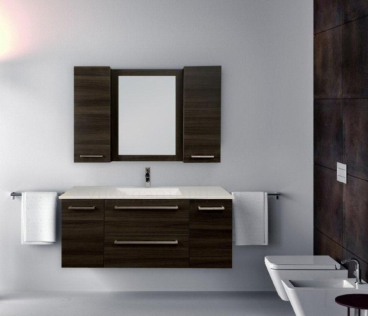 modern bathroom floating vanity white sink and countertop