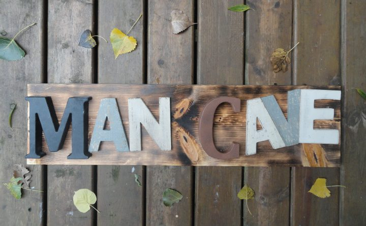 DIY Man Cave Sign reclaimed wood