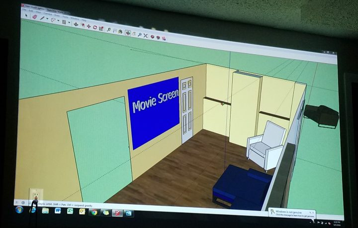 movie room blueprints sketchup