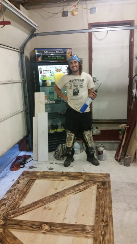 wood burning DIY barn door assembly
