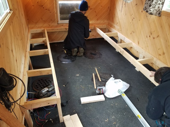 DIY ice shack house lake ice fishing permanent woodworking benches