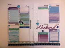 3rd layout using Oh Hello Stationery nautical watercolor and cliboard checklist boxes and washi strip stickers from Stickeriffic