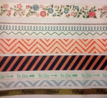 "from top to bottom: oh hello stationery vintage floral and waving hello. the happy planner peach chevron. recollections navy/pink stripes. the paper studio ""to do"" skinny washi. the happy planner lightblue/white chevron skinny washi. the paper studio gold foil ""noted"" skinny washi. info and how to purchase are on blog post!"