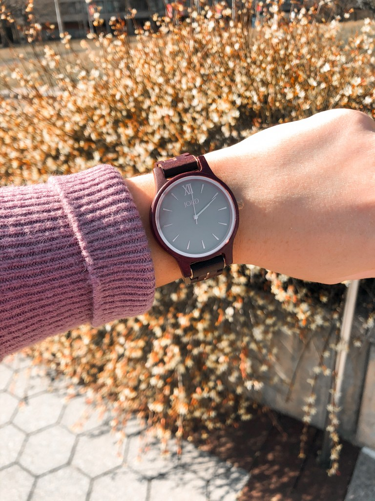Watch face on a wooden watch from JORD watches