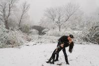 Romantic Central Park Engagement Shoot in the snow by Susan Shek