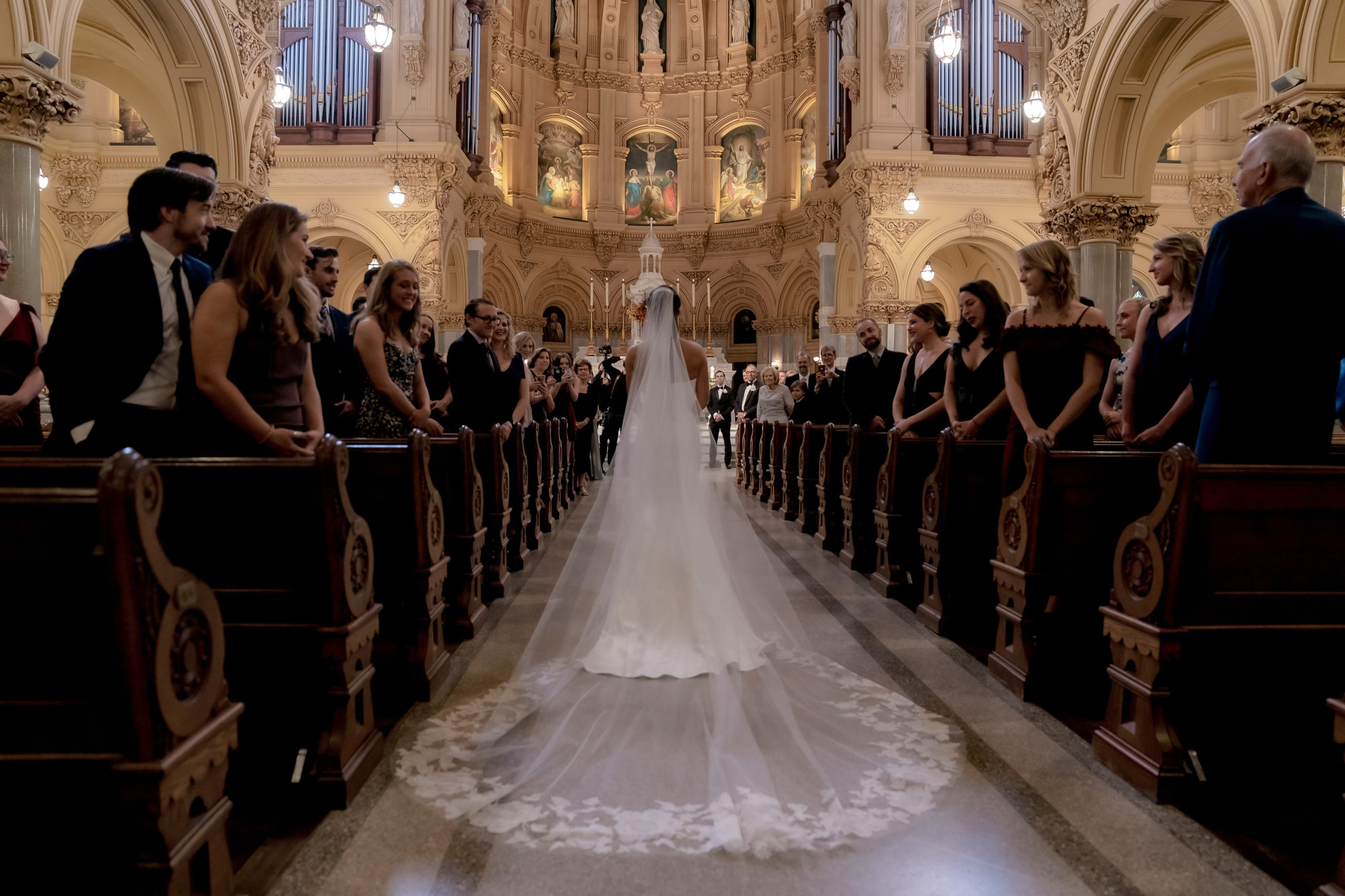 walking down the aisle at Saint Francis Xavier