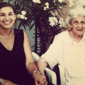 Leah with her grandmother's cousin, Ida, in Italy.