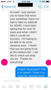 Love when I get feedback!!! I know that i myself have had amazing results from energy work but it's always unbelievable and humbling to hear the results of others!