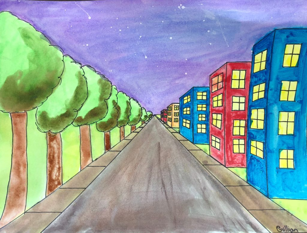 One Point Perspective City Art Lesson For Kids