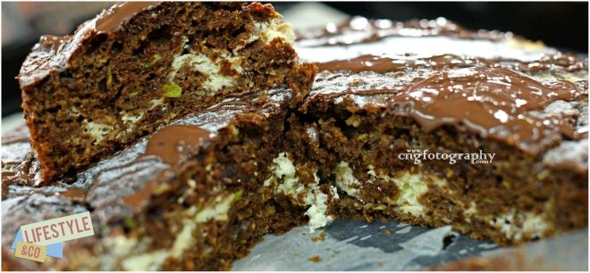 Chocolate Zucchini Cake, just out of the oven, let yours cool down before sharing !