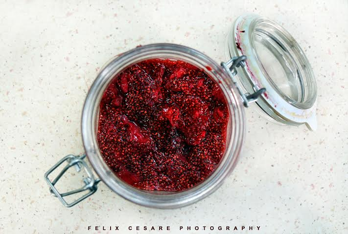 Strawberry jam with chia seeds