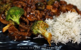 I served the beef stir fry with steamed rice