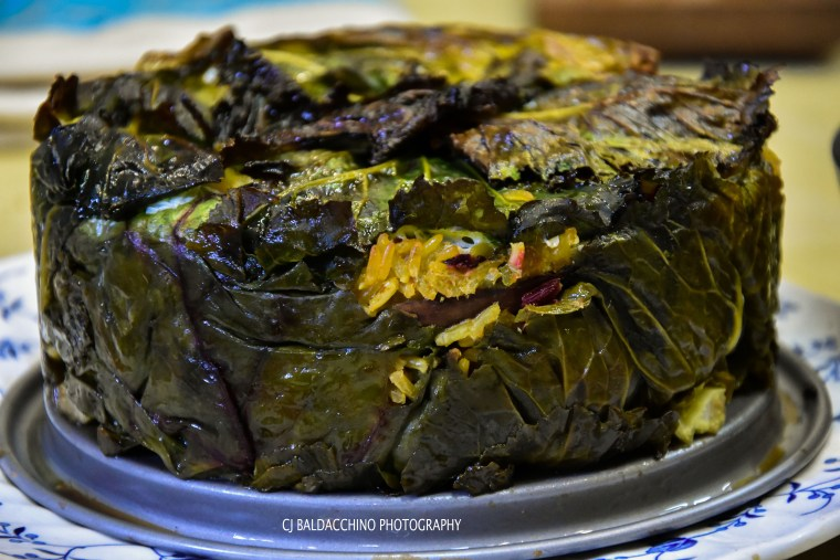 Mushroom and almond pilaf in Cavolo Vecchio leaves.jpg