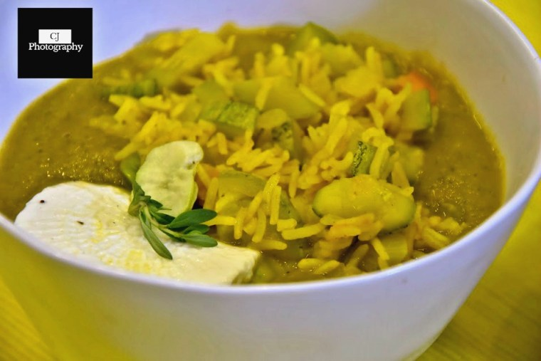 fresh herb soup with turmeric vegetable rice 2