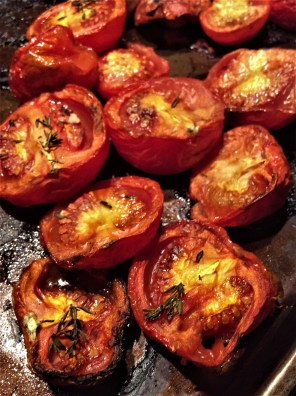 Tomatoes roasted with olive oil, fresh thyme, garlic and sea salt